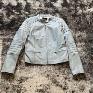Banana Republic Light Blue Leather Jacket
